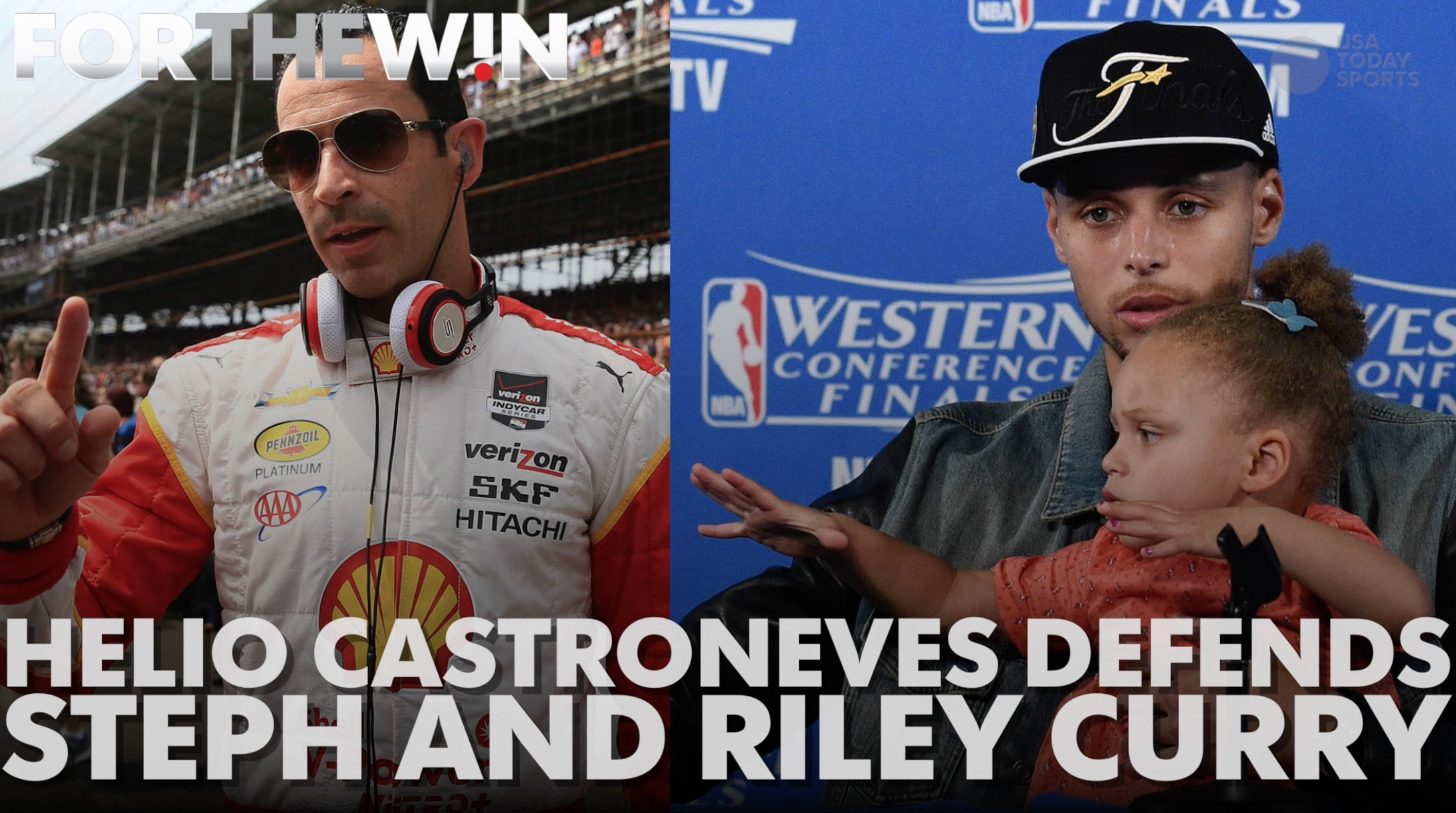 Helio Castroneves defends Steph Curry's decision to bring his daughter to press conferences
