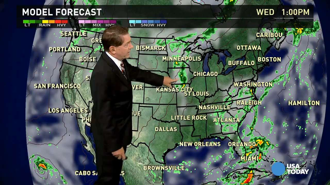 Wednesday's forecast: Cooler and Wet in East