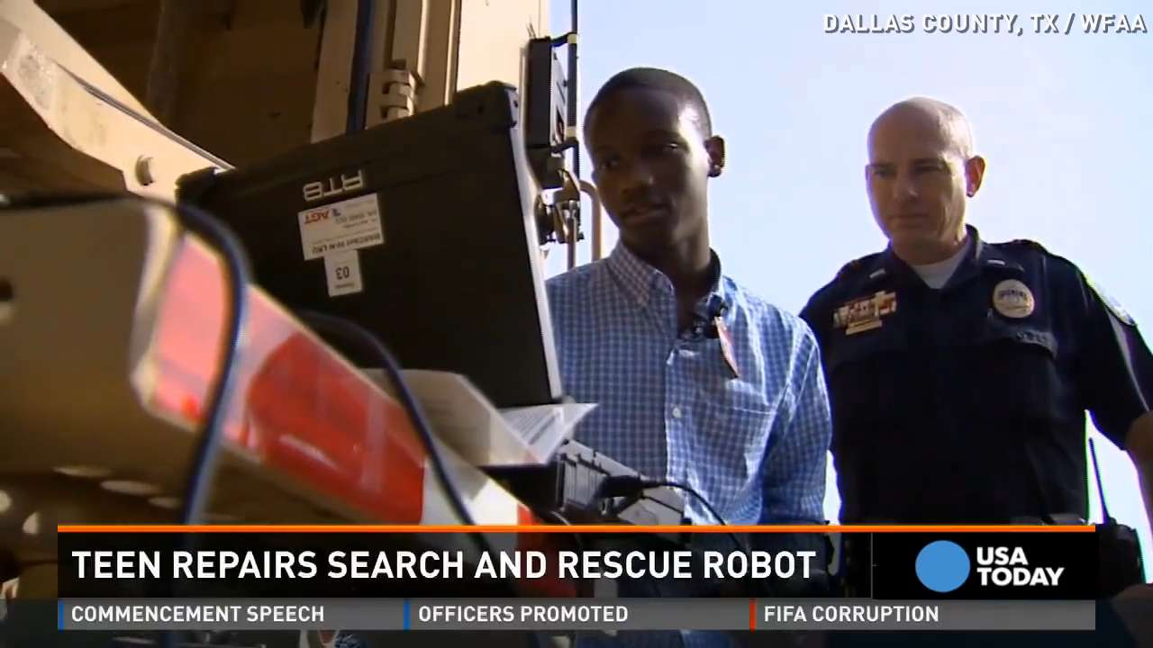Teen repairs search and rescue robot for police