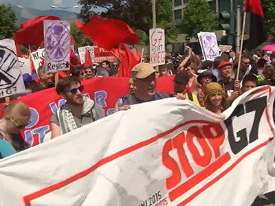 Raw: Thousands protest G7 summit in Germany