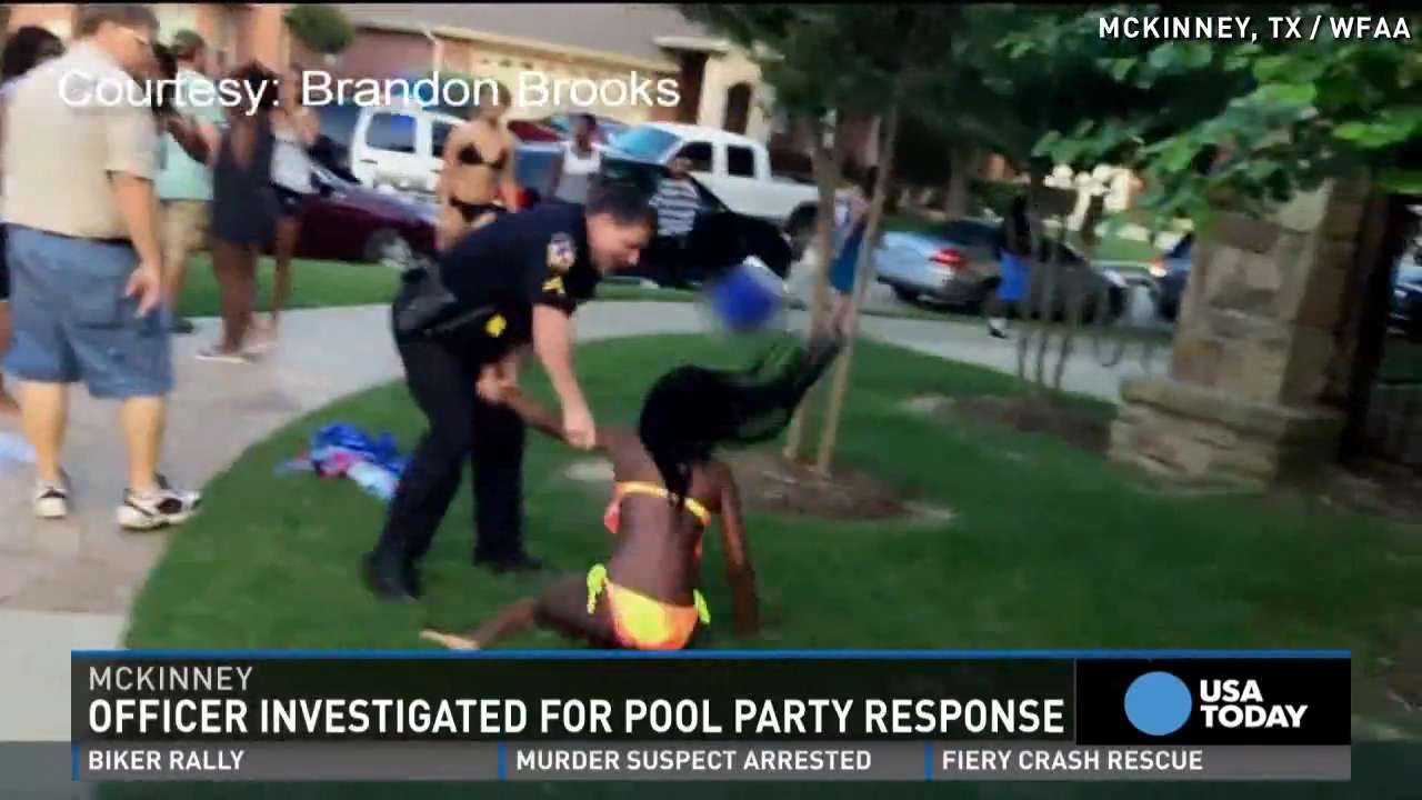 Texas cop suspended over pool party arrest video