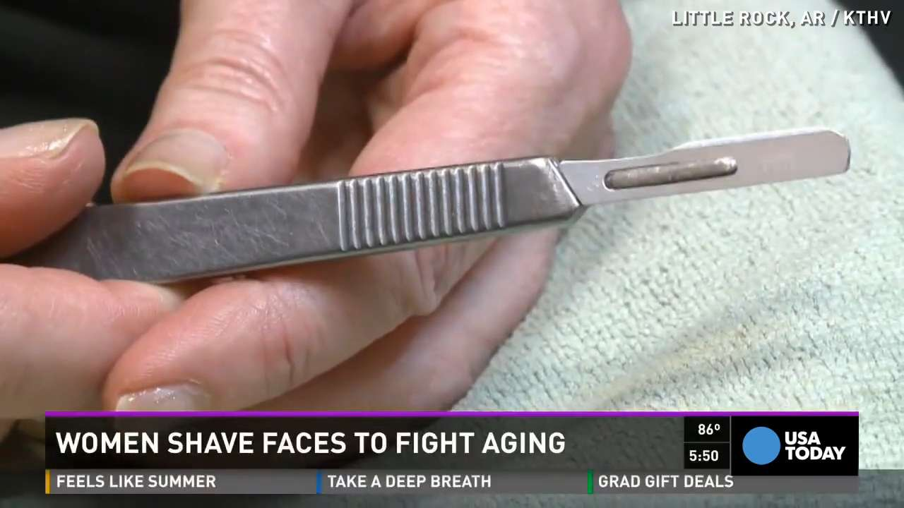 Woman's secret to looking young? Shaving her face