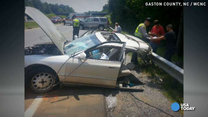 Pregnant woman survives car being cut in half in wreck
