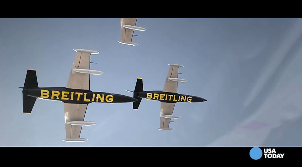The Breitling Jet Team is a group of elite French pilots who are performing at air shows in North America for the first time this year. See how USA TODAY Travel Editor Ashley Day fares when she goes along for a ride.