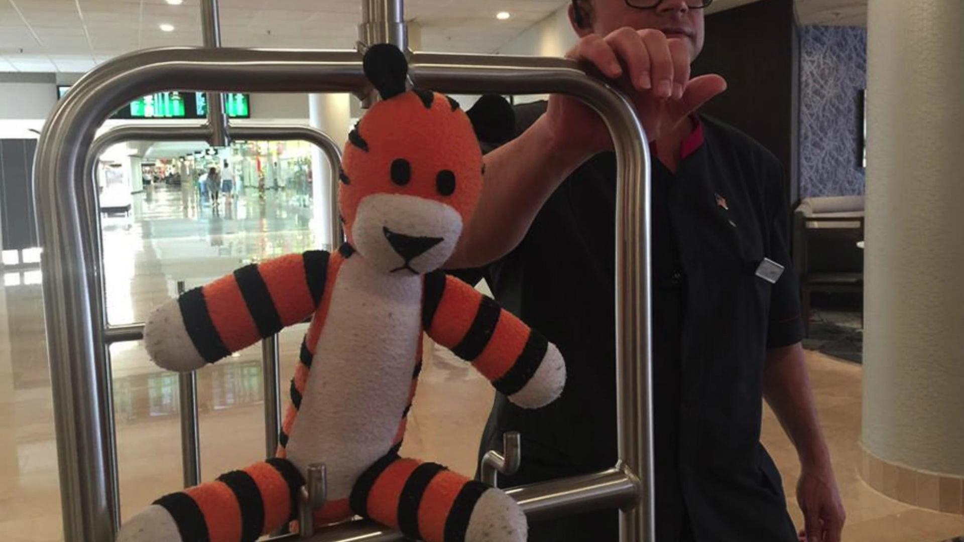 Airport workers chronicle adventures of boy's lost stuffed tiger