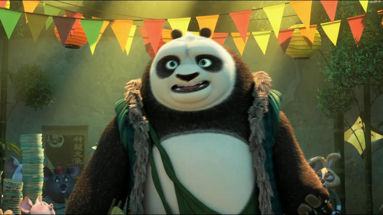 "Po, voiced by Jack Black, left, and his long-lost panda father Li, voiced by Bryan Cranston, yuk it up in ""Kung Fu Panda 3."""