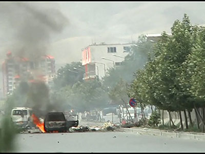 Raw: Afghan parliament attacked