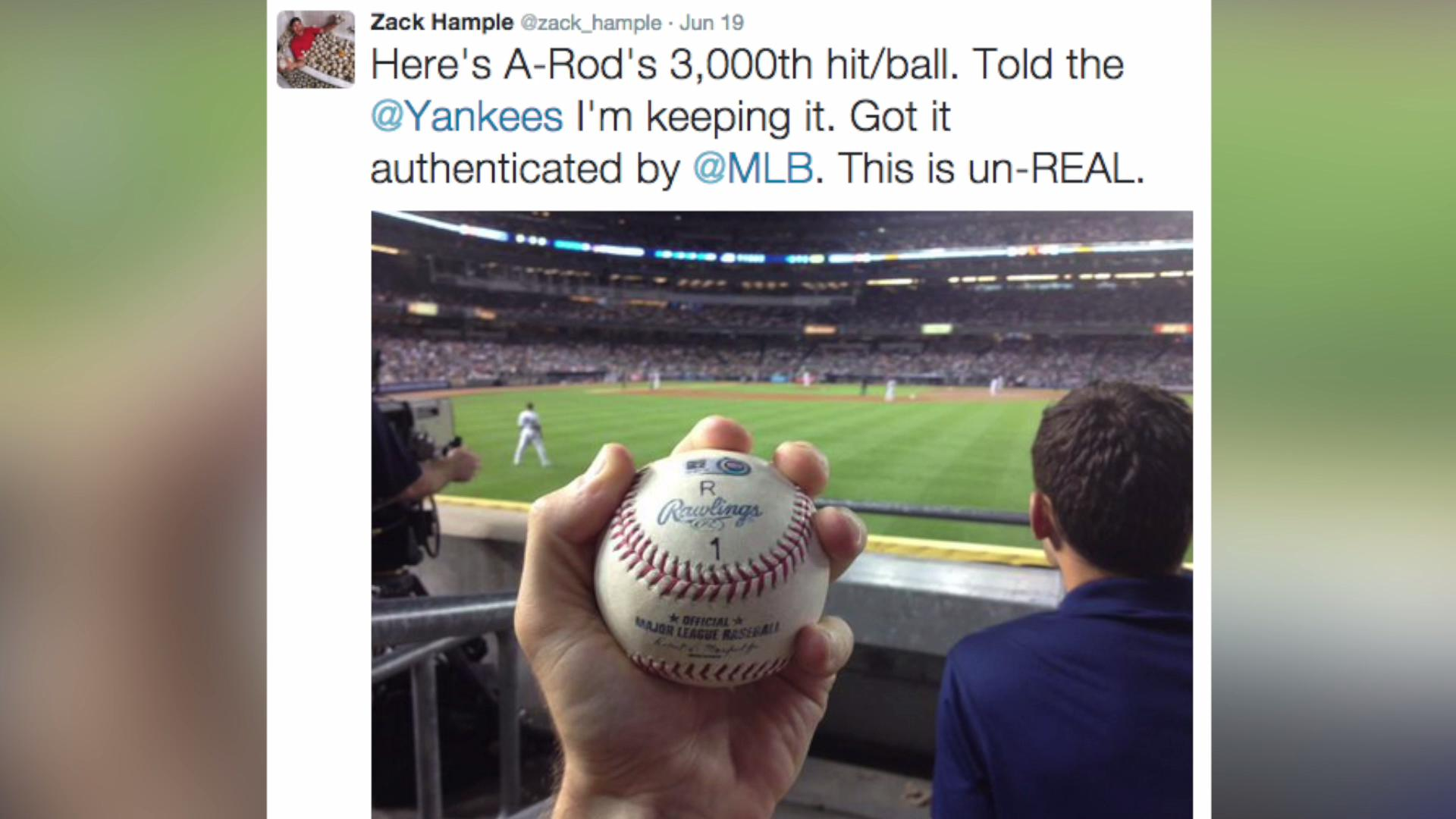 Guy who caught A-Rod's 3000th hit won't give up the ball