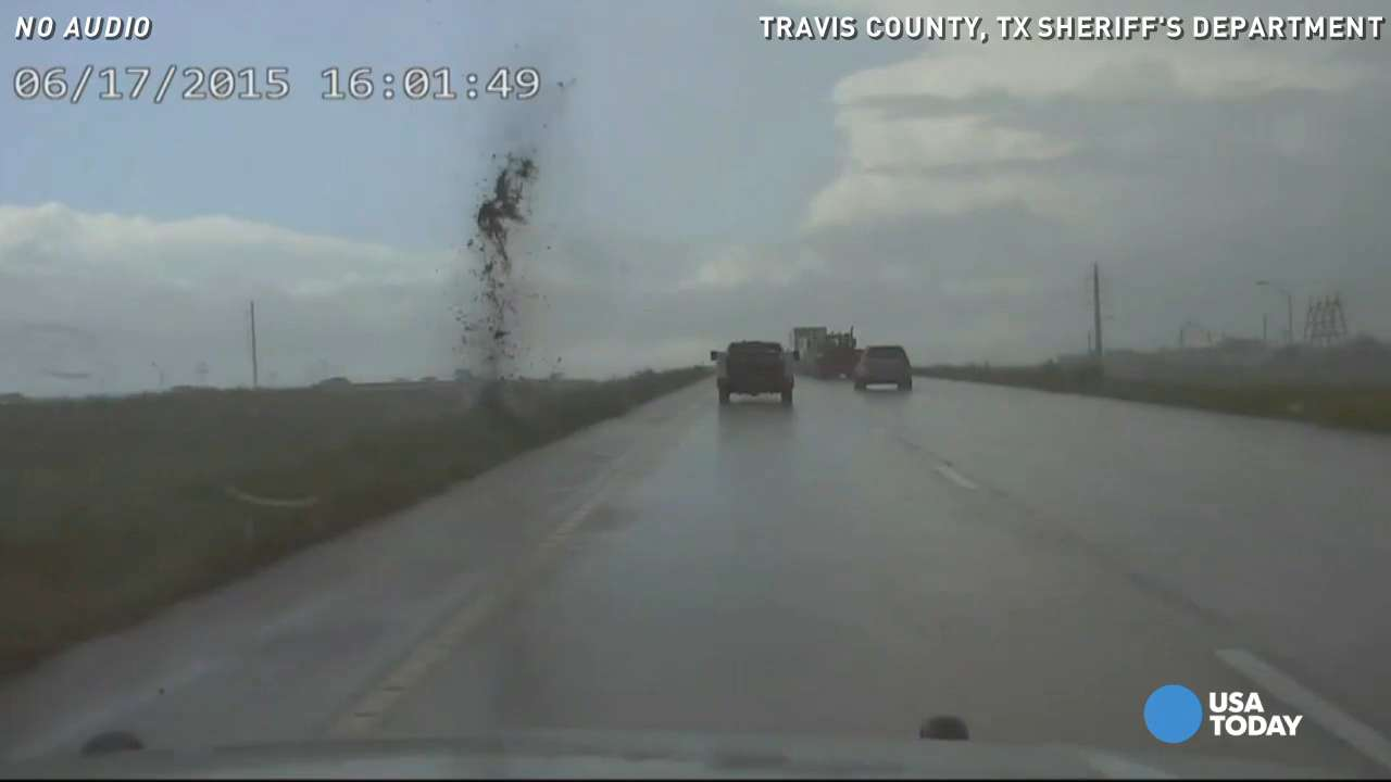 Watch: Lightning almost hitting truck caught on camera