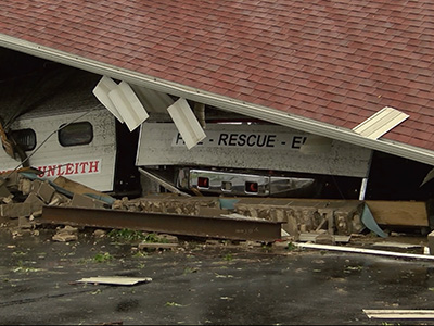 Storms hit Midwest, destroy fire station
