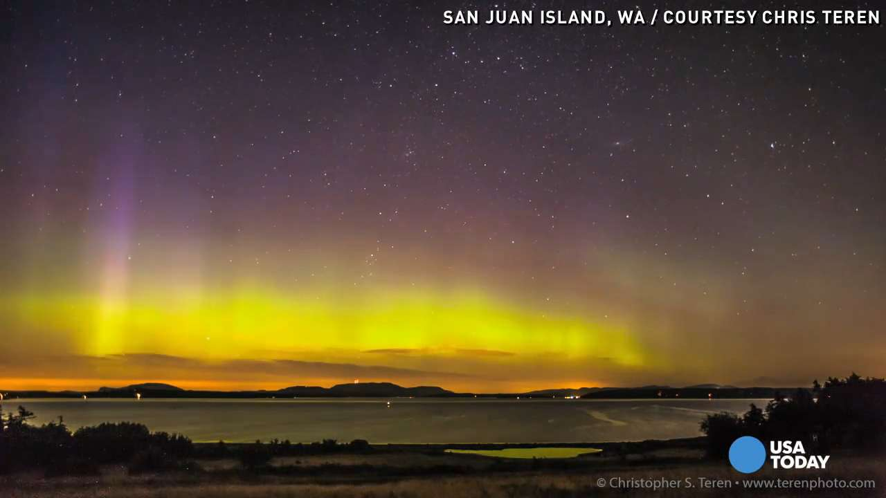 Watch: Aurora borealis glows over Washington state