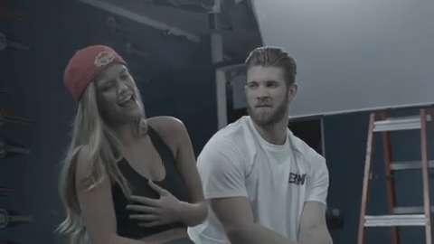 Behind the scenes of Bryce Harper's New Era commercial with model Nina Agdal