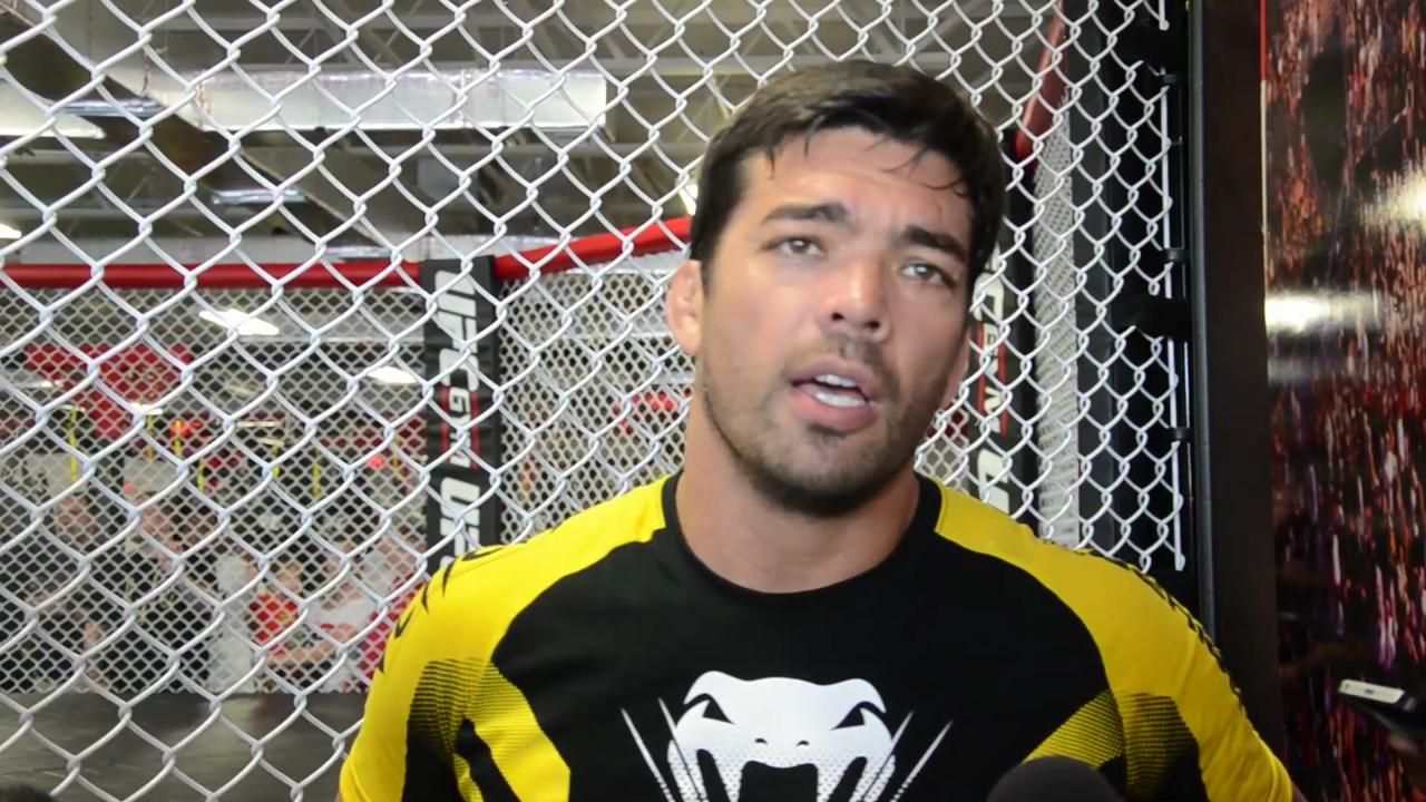 Lyoto Machida talks to reporters before Fight Night 70 in Hollywood, Florida