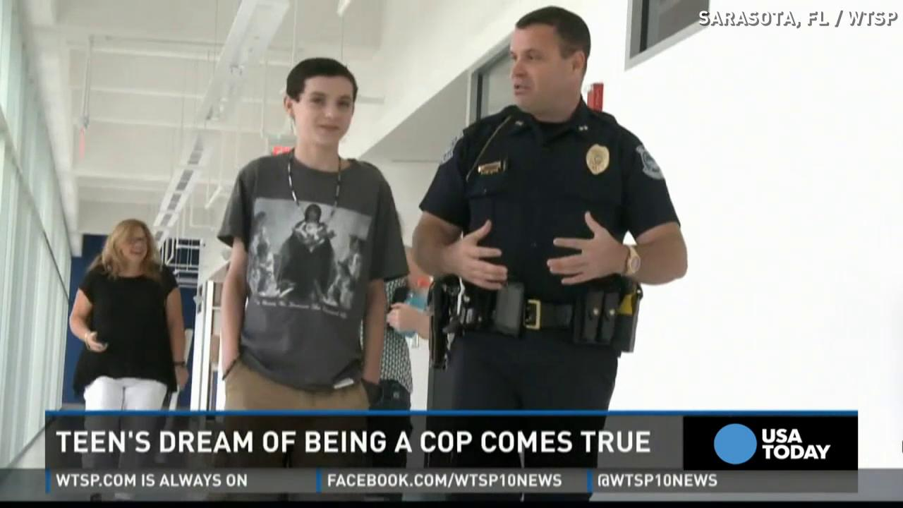 Teen with cystic fibrosis becomes cop for a day