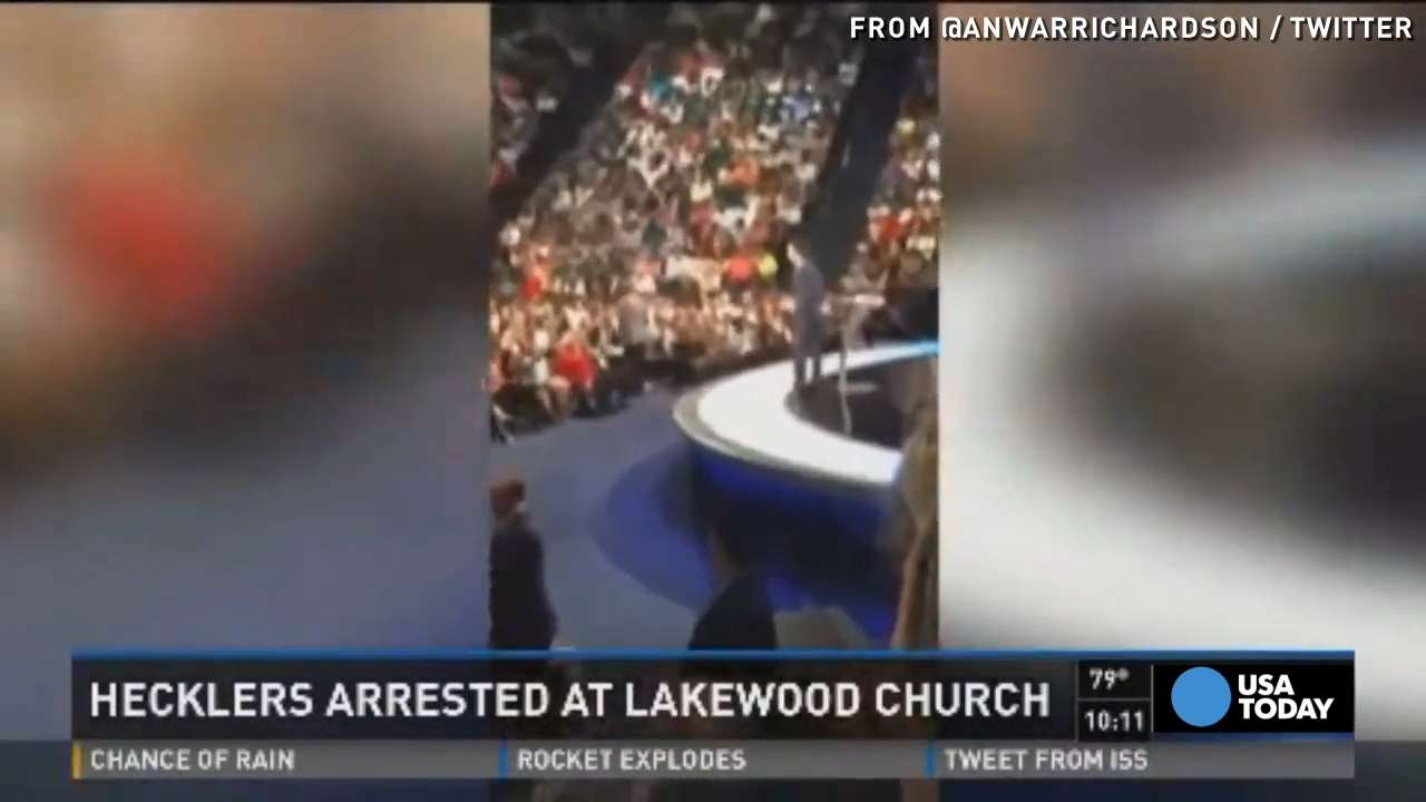 Joel Osteen heckled during church, six arrested