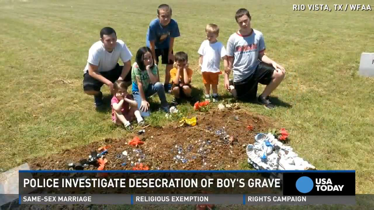 Vandals damage a child's grave, family devastated