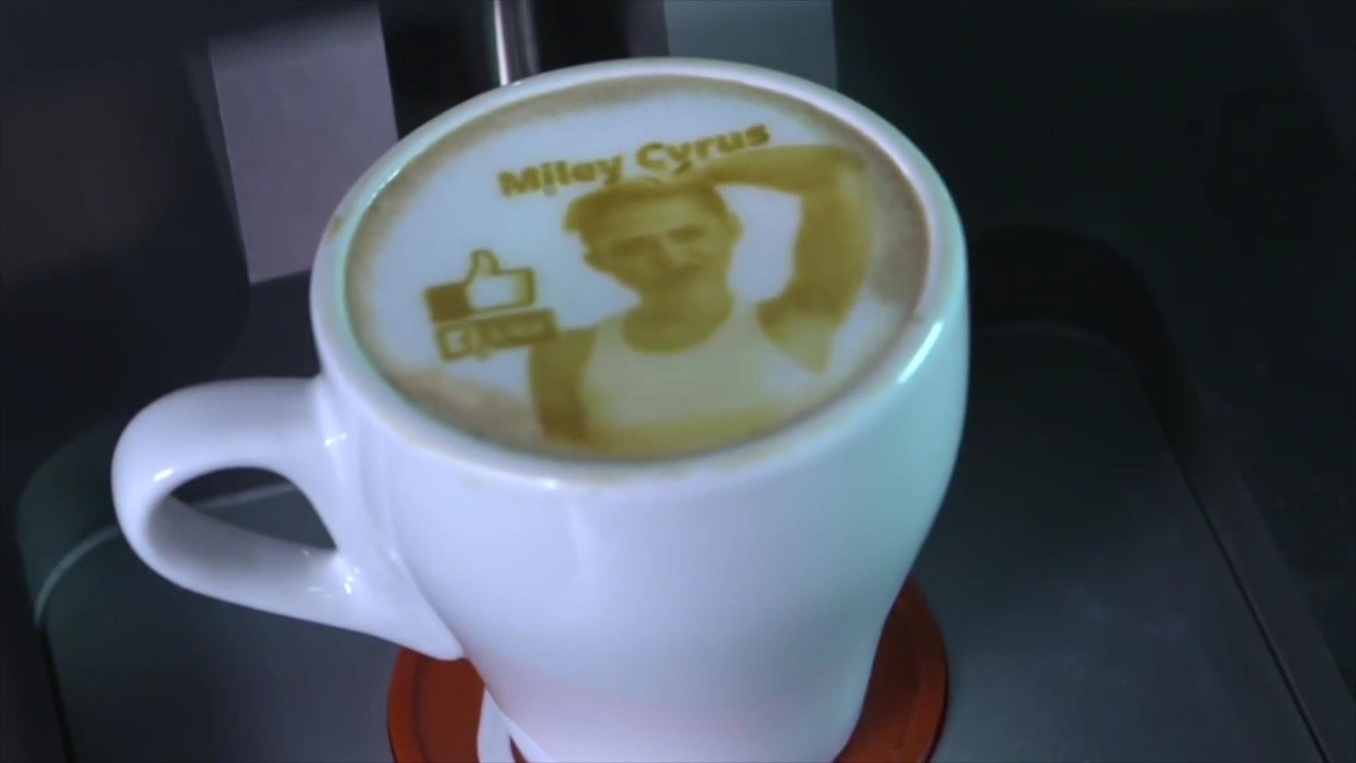 Latte art machine draws Miley Cyrus' face on your coffee