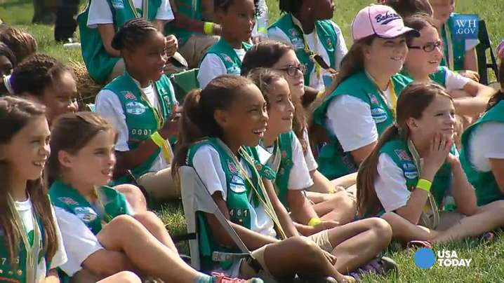 Girl Scouts camp out on White House's south lawn
