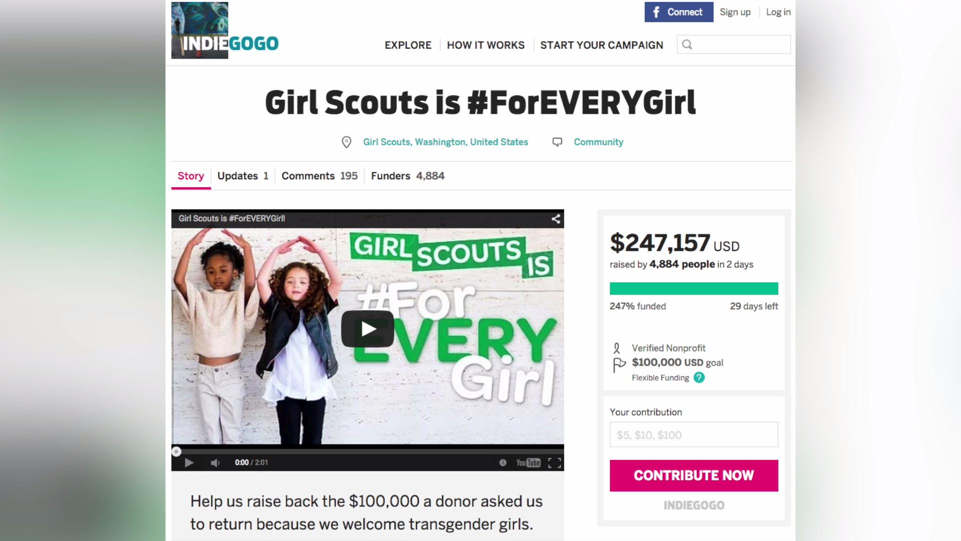 Girl Scouts raise $250K after turning down $100K donation