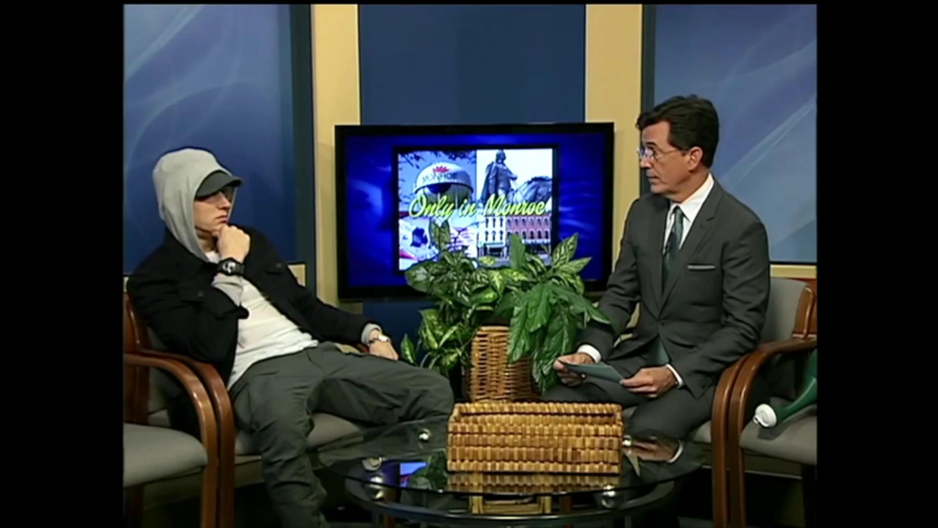 Stephen Colbert interviews Eminem on Michigan public access TV