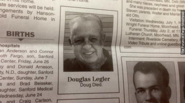 North Dakota man's obituary is just 2 words long