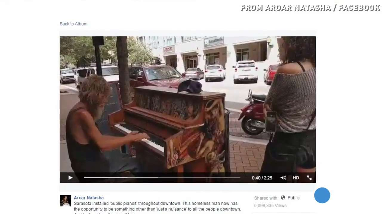 Homeless pianist strikes a chord with millions online