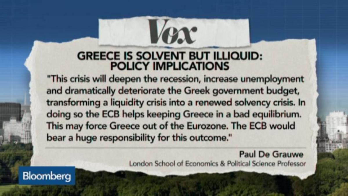 Greece is solvent but Illiquid: Policy Implications