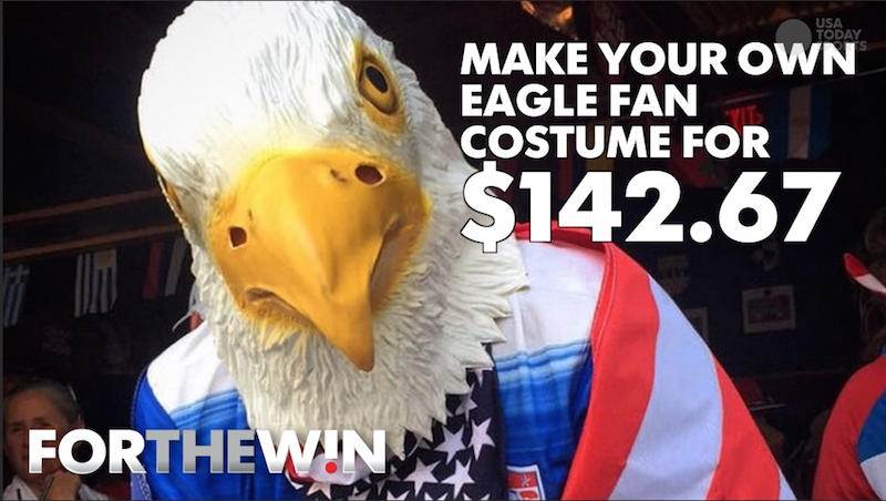 Make your own 'eagle fan' costume for $142.67