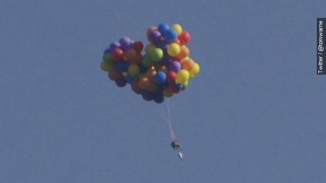 Man charged after lifting off in balloon-covered lawn chair