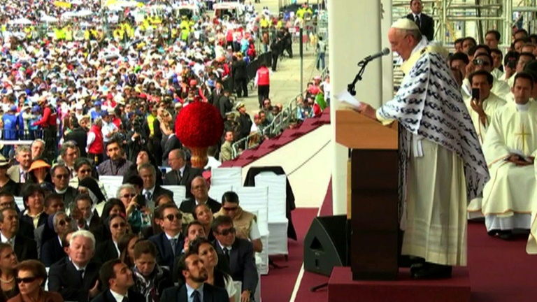 Pope Francis holds mass in Ecuador's capital Quito