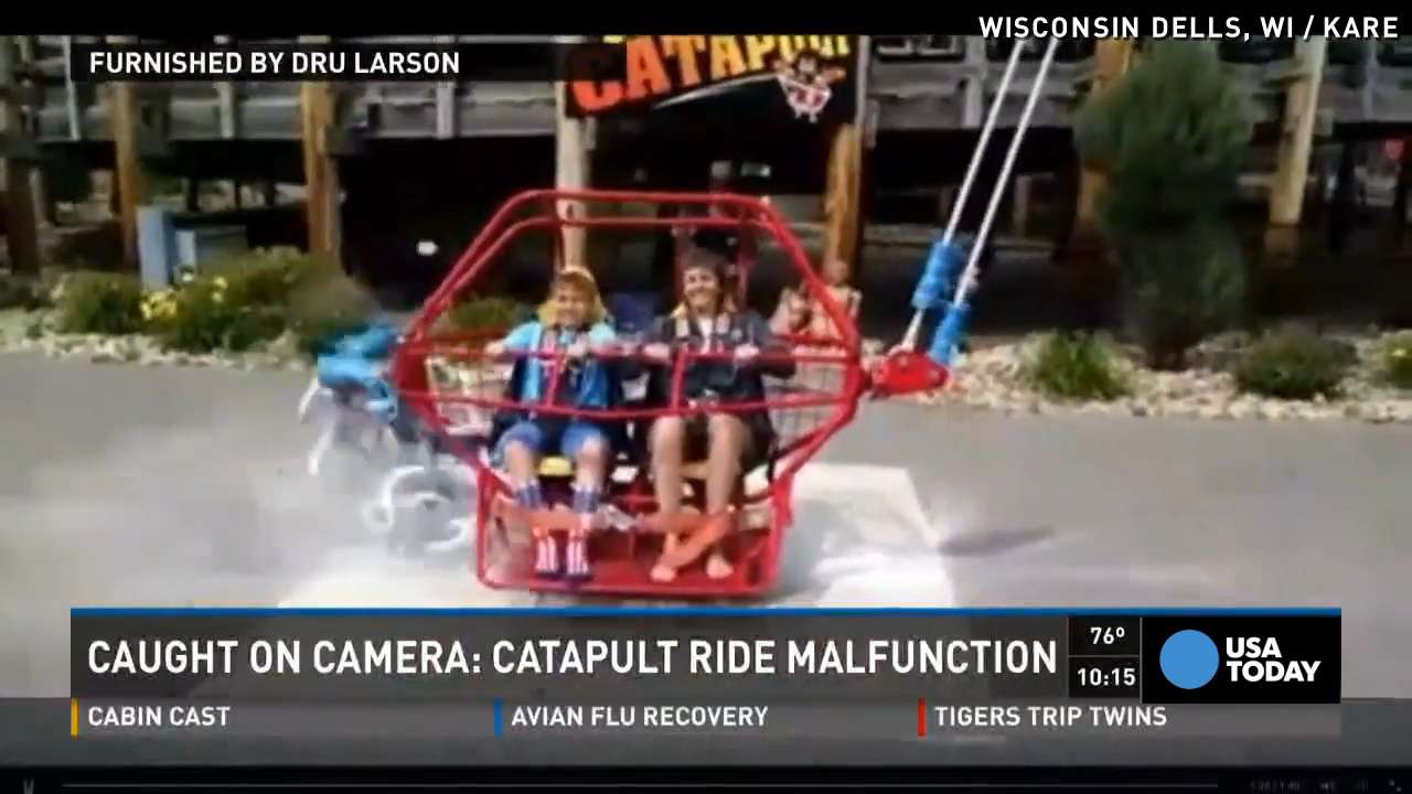 Cord snaps on bungee ride split second before launch