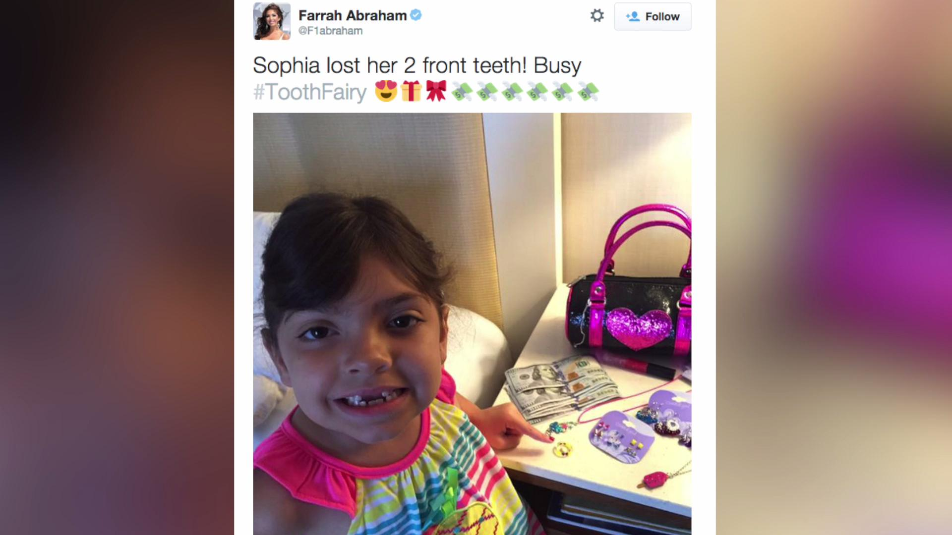 'Tooth Fairy' leaves Farrah Abraham's daughter $600