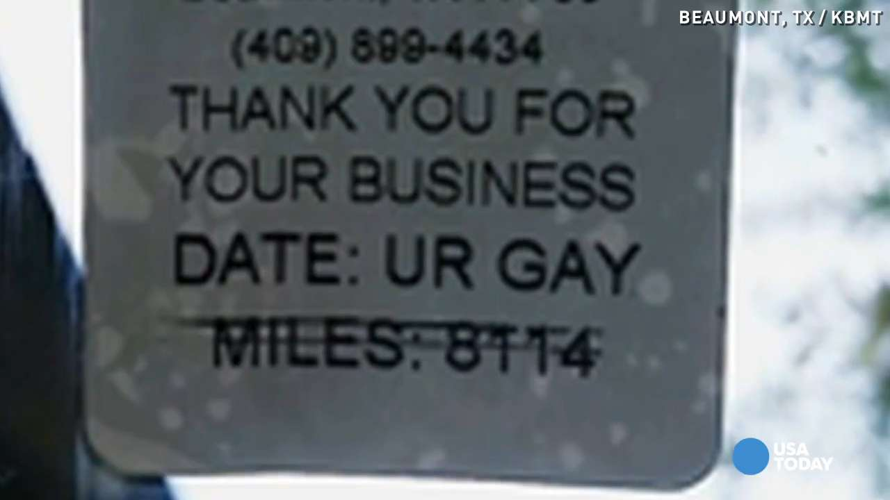 'UR GAY' sticker placed on customer's car at Goodyear