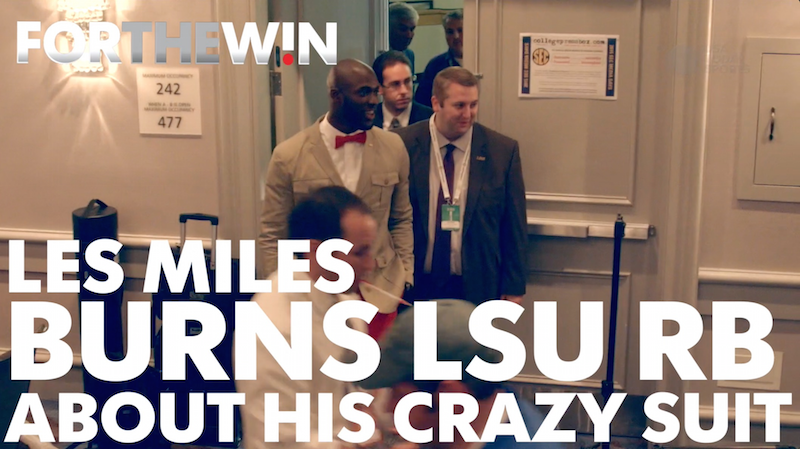 Les Miles roasts LSU RB about his red pants
