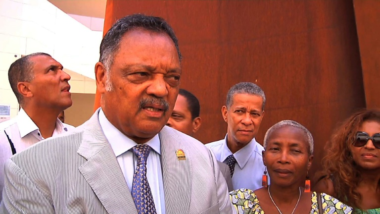American civil rights activist Jesse Jackson visits Memorial ACTe, a newly opened memorial to slavery and slave trade, in Guadeloupe.