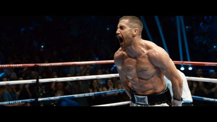 "Jake Gyllenhaal, center right, and Forest Whitaker, center left, star in ""Southpaw."""