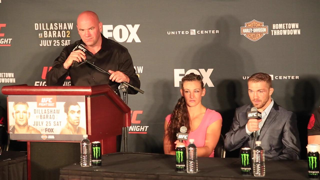 Miesha Tate and Bryan Caraway discuss cornering each other's fights in the same night