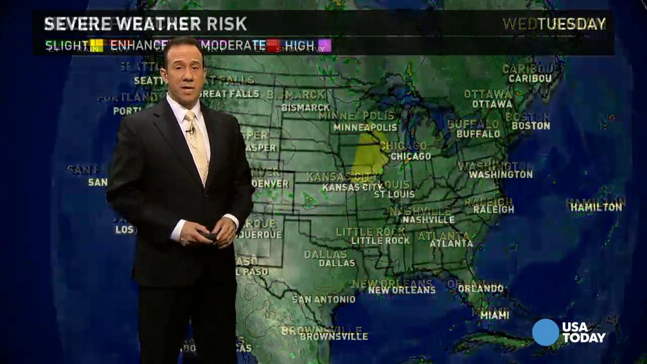 Tuesday's forecast: Heavy rain in parts of the South