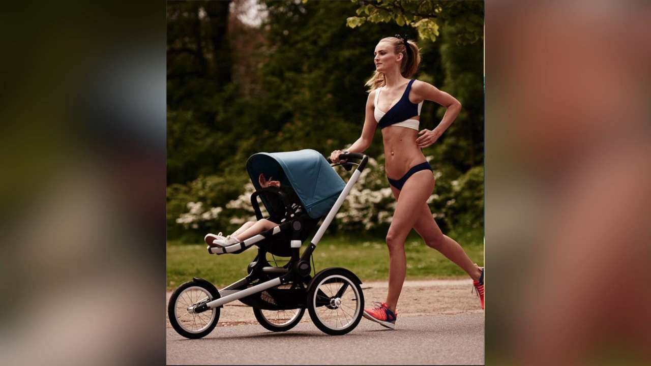 Moms angry over stroller ad featuring model in a bikini