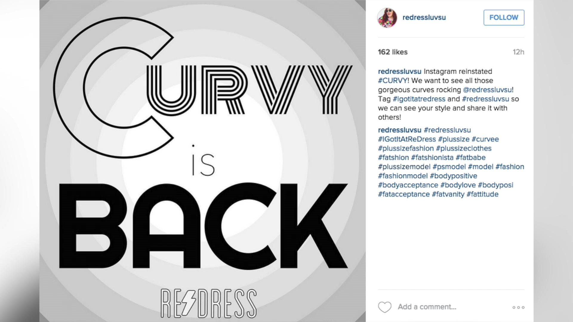 Instagram lifts #curvy ban