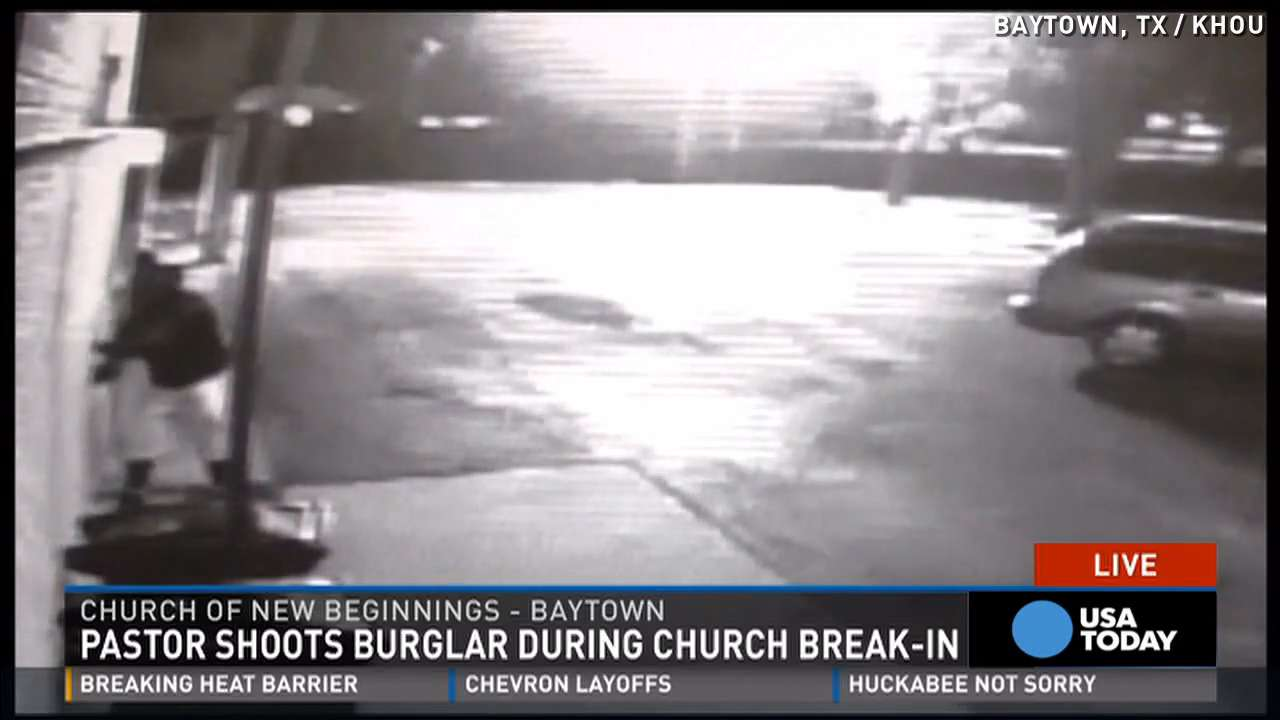 Pistol-packing pastor shoots alleged burglar at church