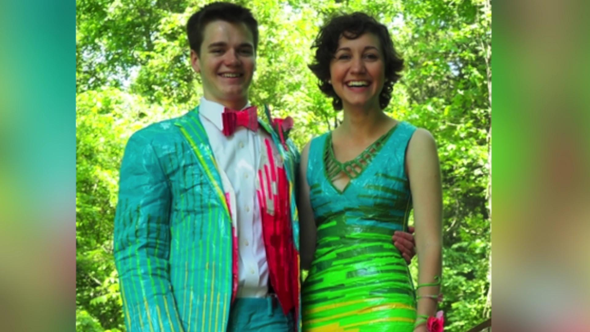Teens' colorful duct tape prom outfits wins them $20,000
