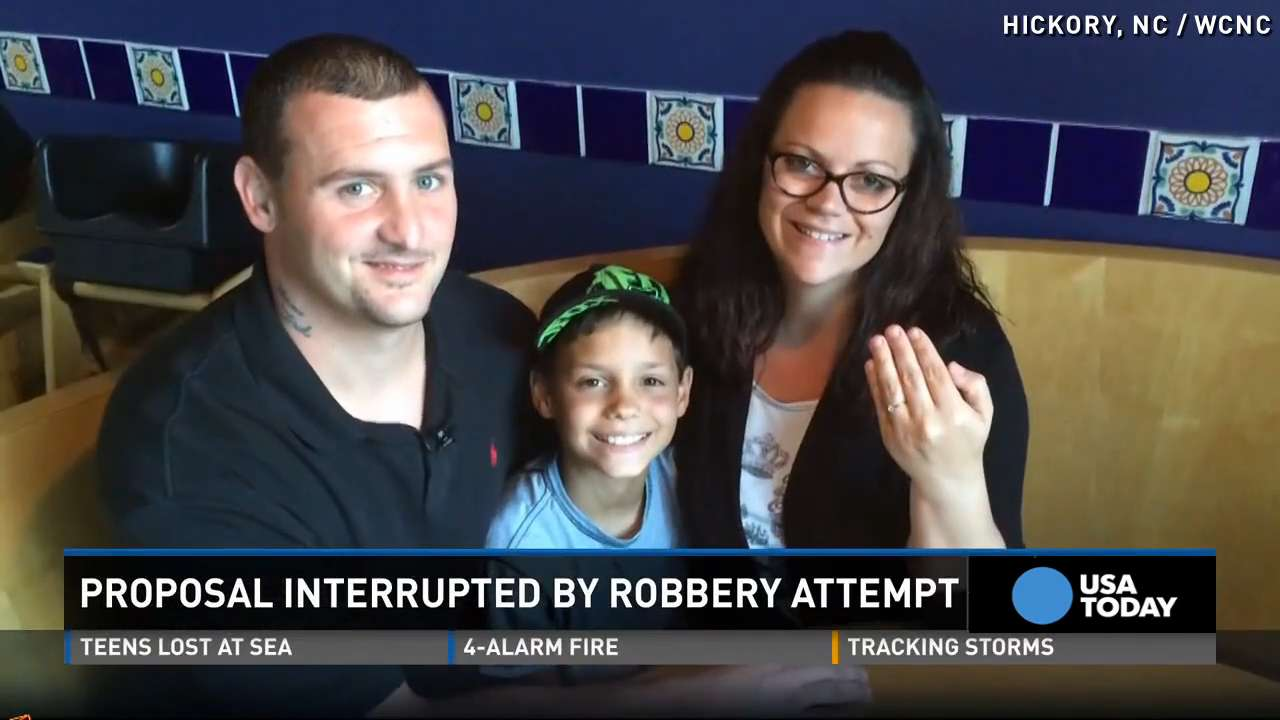 Man stops robbery during proposal to girlfriend