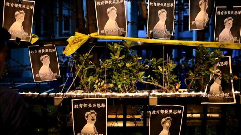 Hundreds protest in Taipei after student suicide