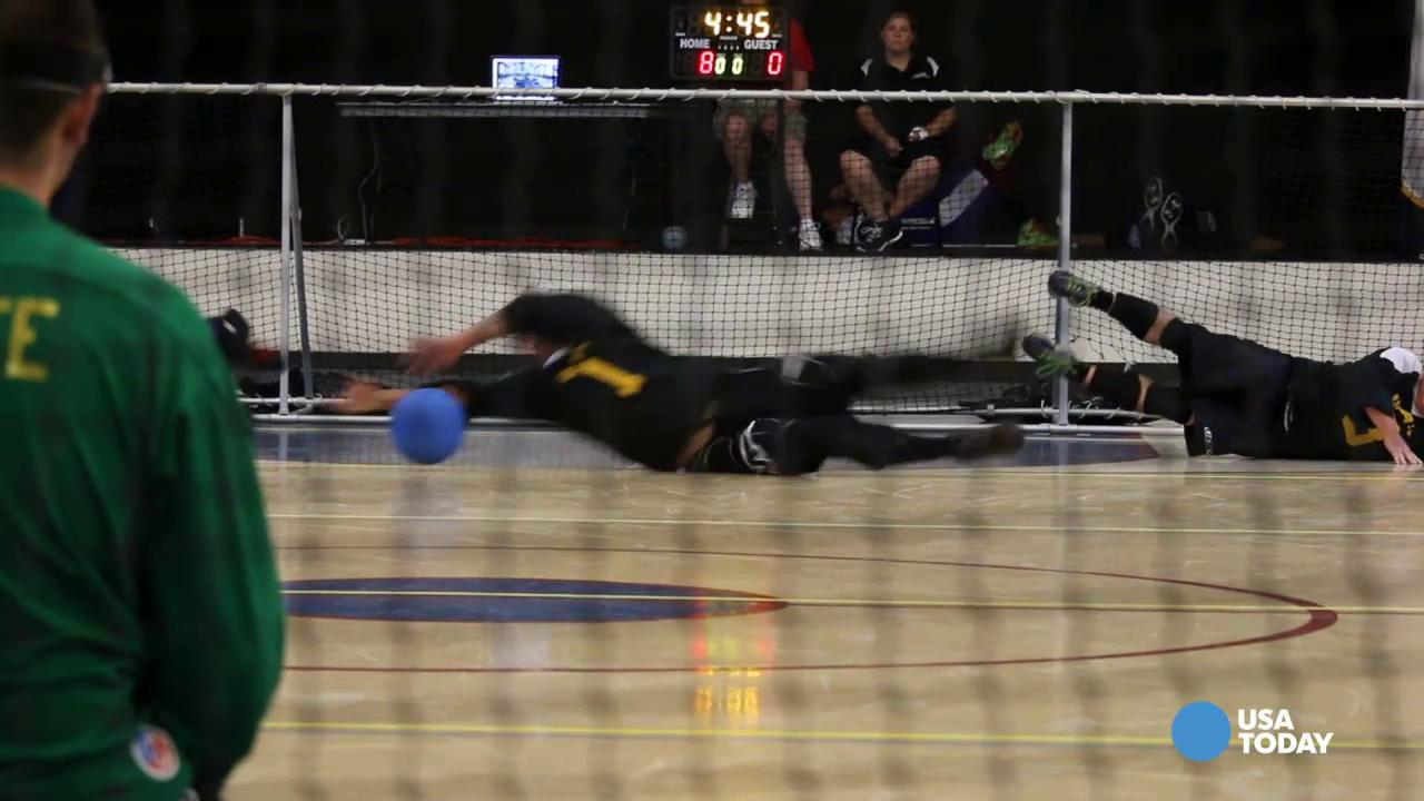 This is reverse dodgeball with a blindfold on