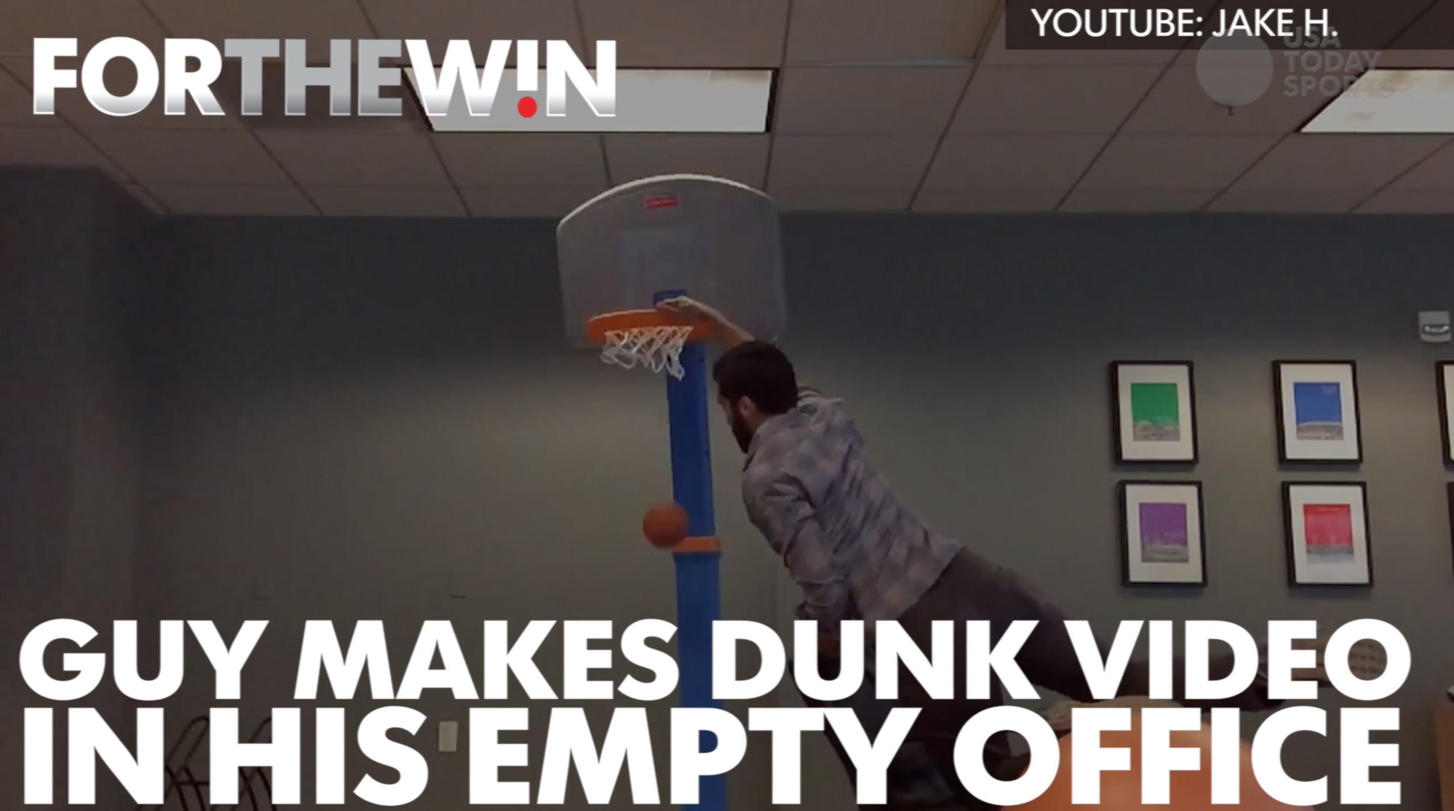 Guy turns empty office into a dunk highlight video after layoffs