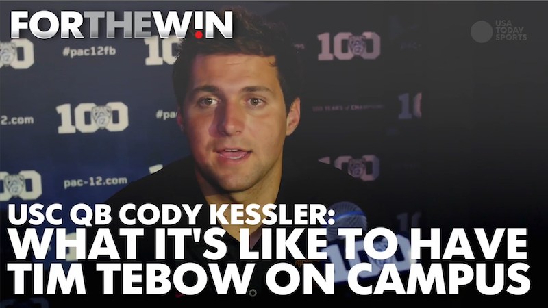 USC QB talks about what it's like to have Tebow on campus