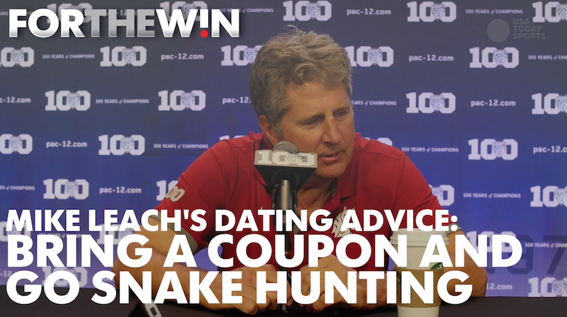 Mike Leach's dating advice: Bring a coupon, hunt snakes