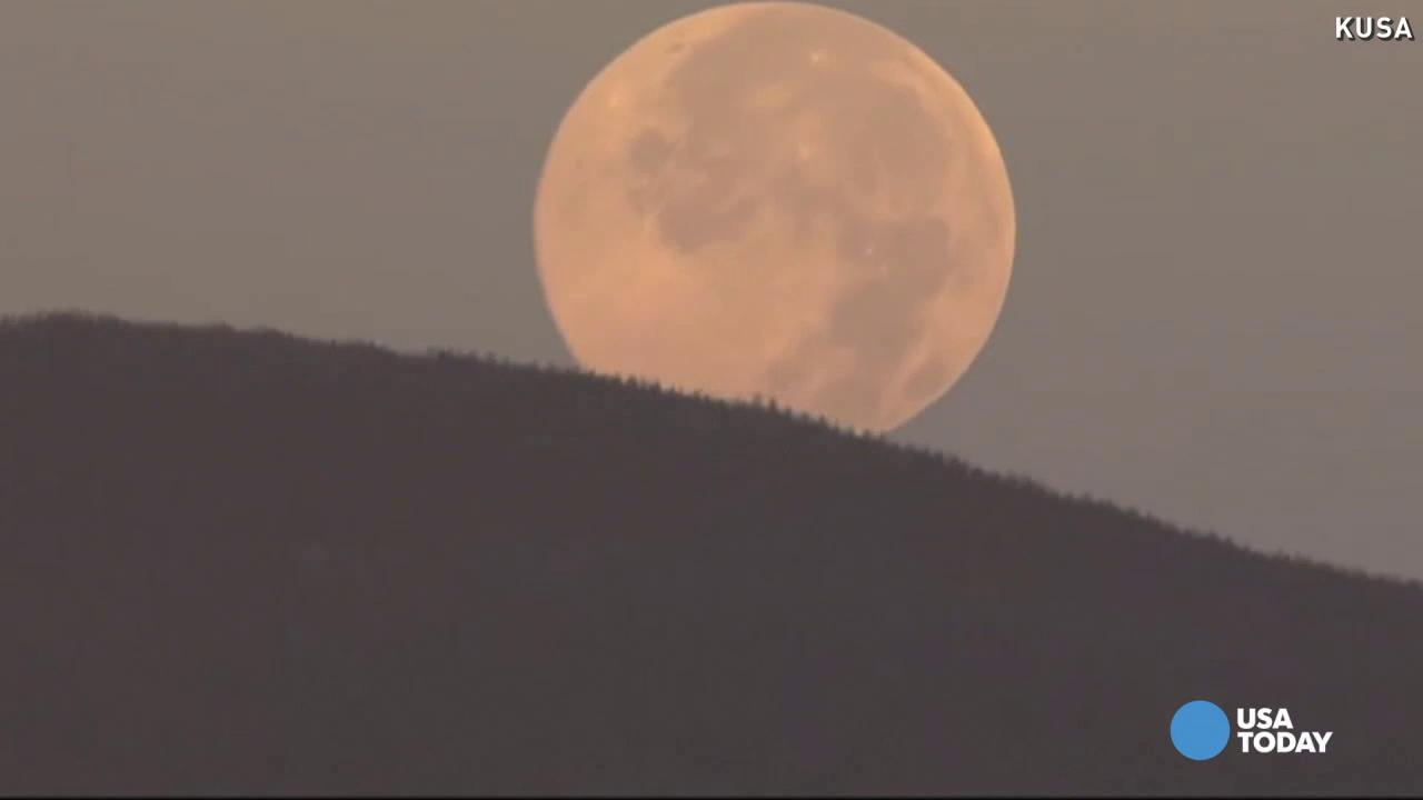 Watch: Blue moon sets over Rocky Mountains