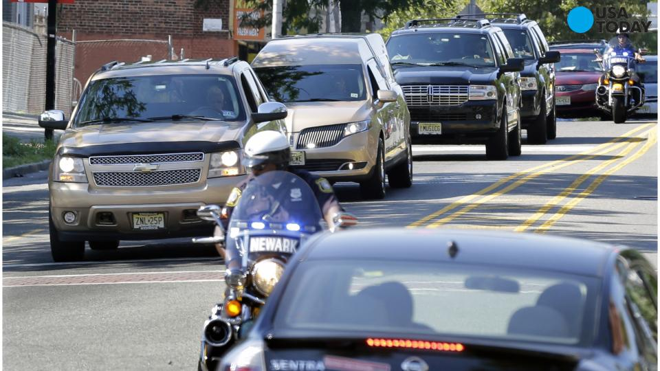 Hearse with Bobbi Kristina Brown's body arrives at cemetery